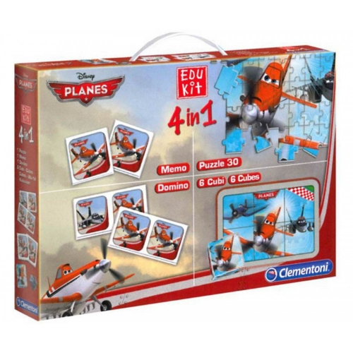 Disney Planes KIT 4in1 - Puzzle, Memo, 6 Würfel, Dominio