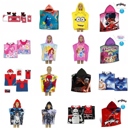 Badeponcho Poncho Frottee Miraculous Ladybug My little Pony Star Wars Spiderman Shimmer and Shine Disney Minions Pixar Findet Dory Nemo